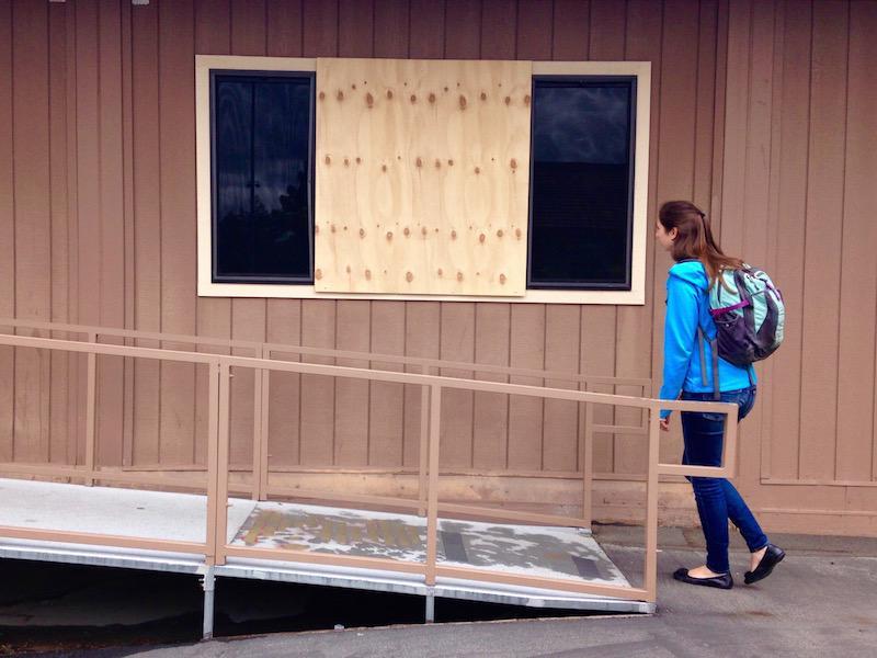 Admin investigates window vandalism