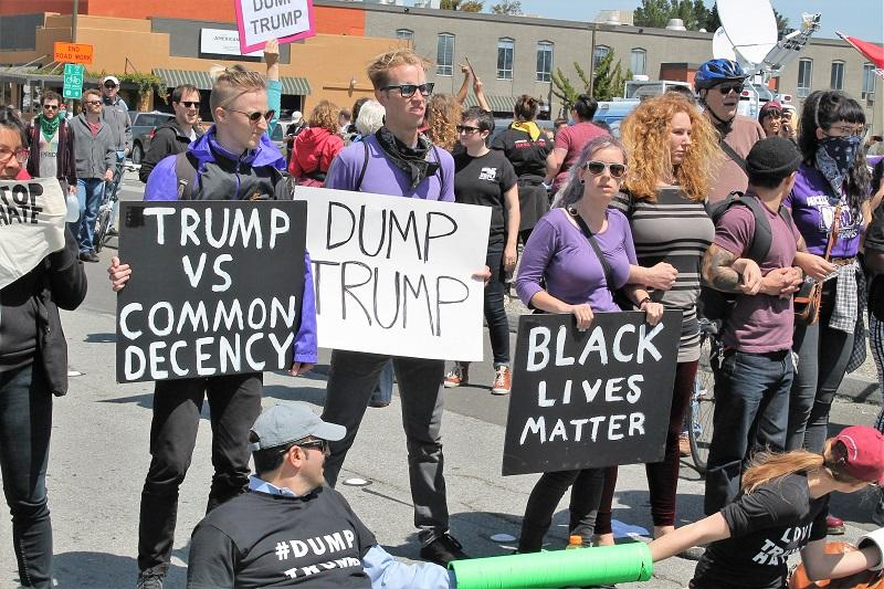 Anti-Trump protesters gather at California GOP convention