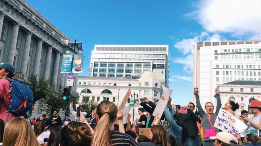 Students and San Francisco residents participate in a  similar rally outside San Fransisco city hall that took place last week. Photo by Emilia Diaz-Magaloni