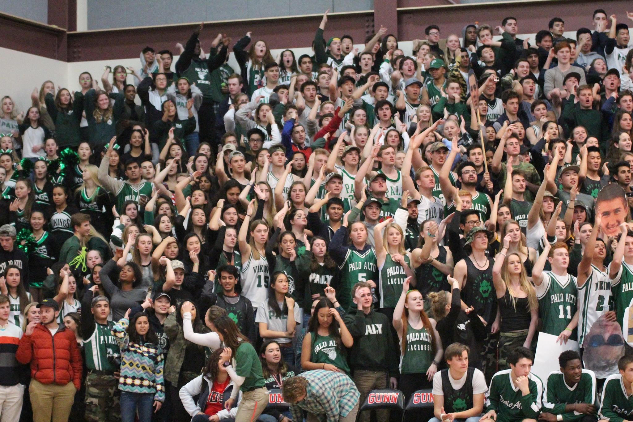 "Palo Alto High School students support their Vikings during ""Quad Night"", where all four Paly basketball teams take on all four Gunn teams in a row."