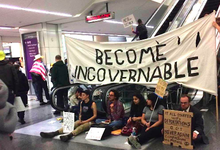 Locals protest new Trump Policies at San Francisco International Airport