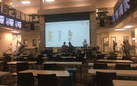 AB Calculus teachers David Baker, Scott Friedland and Herb Bocksnick grading the Calc Bowl results in the MAC, following the competition. Photo: Daniella Maydan