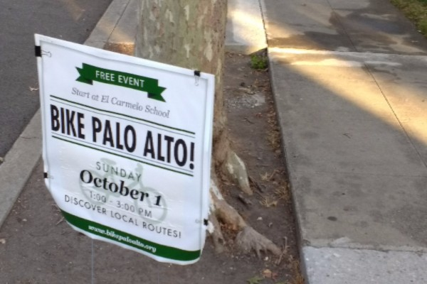 An example of a Bike Palo Alto advertisement sign facing the intersection between North California Avenue and Bryant Street. Photo Credit: Benjamin Huang