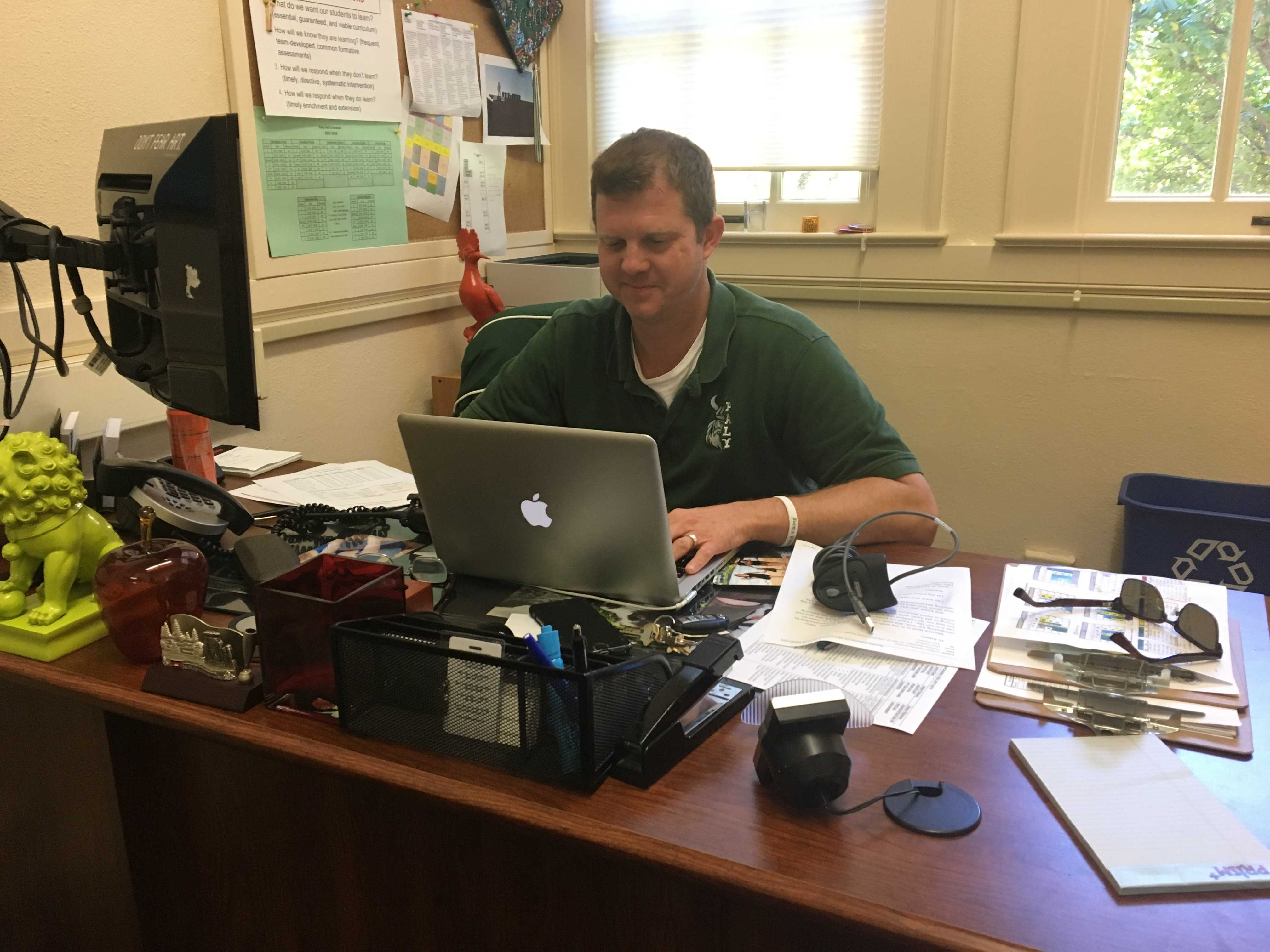 Assistant Principal of Teaching & Learning, Adam Paulson, hard at work, typing away in his office. Photo: Sophia Muys