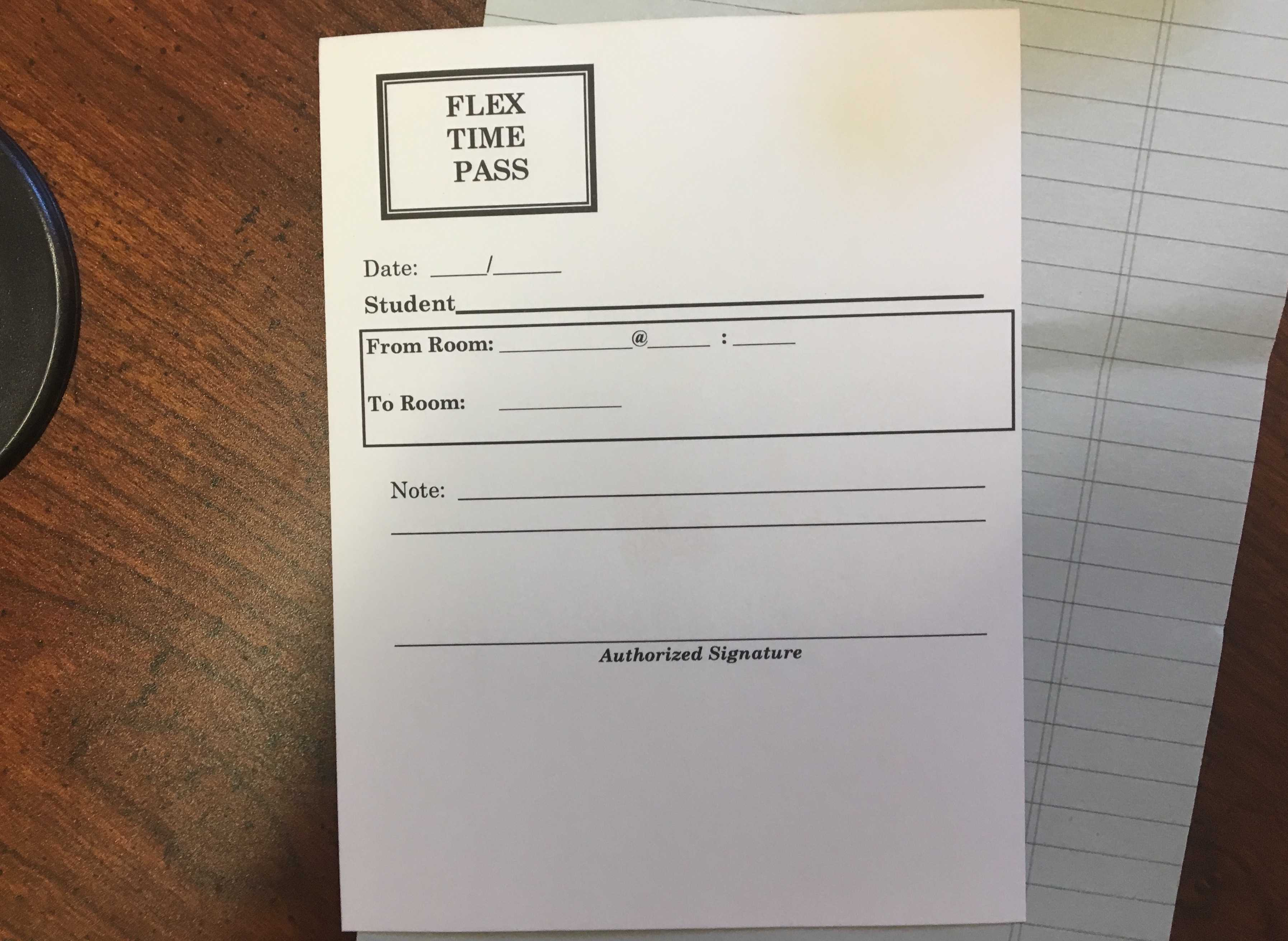 Paper passes like these will allow students to move on to different classrooms. The passes will serve as a temporary solution, and will soon be phased out once the ability to switch is integrated into the digitized system.