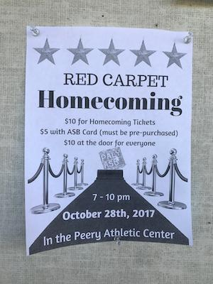 Homecoming will be held on Saturday, Oct. 28 from 7-10 p.m. in the Peery Center small gym.