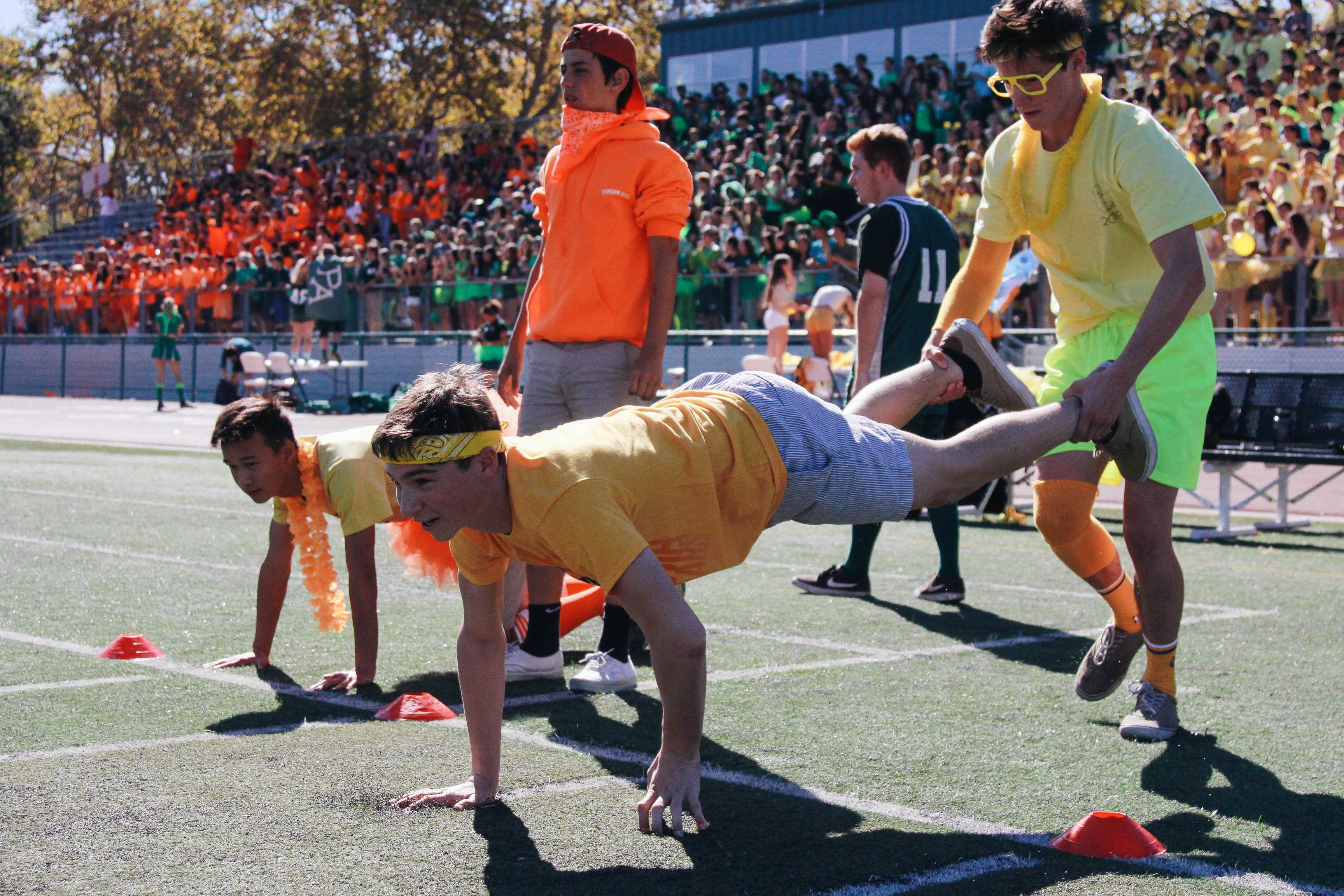 Junior Cole Sotnick looks ready to run the first leg of the relay. Photo: Angelina Wang