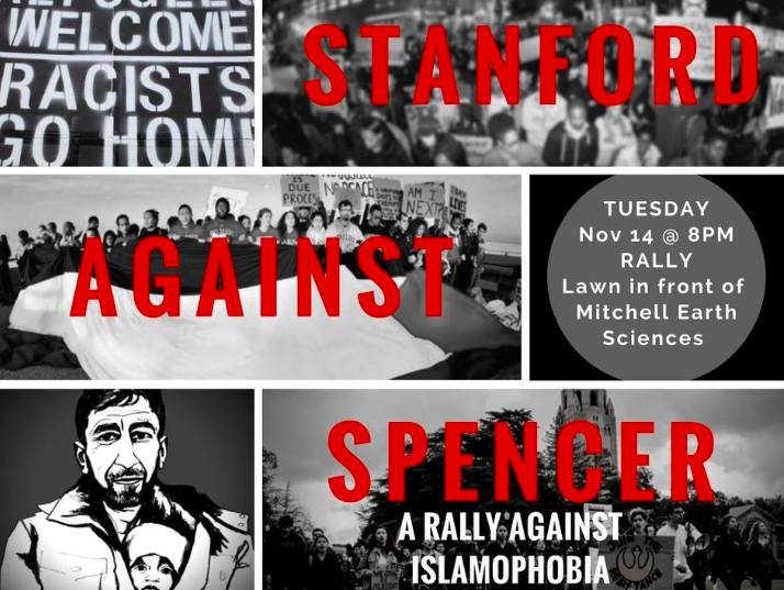 This flyer for the protest is featured on the Facebook event, which also contains a description listing the reasons why students are choosing to protest the visit of Robert Spencer to Stanford campus. Many students are angry that the event is being funded by the university, because their tuition dollars will be going towards a speaker with views they feel are harmful.