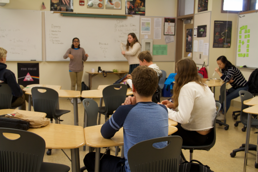 Model UN members use impromptu speaking drills to prepare for their mock conference, which will take place this quarter.