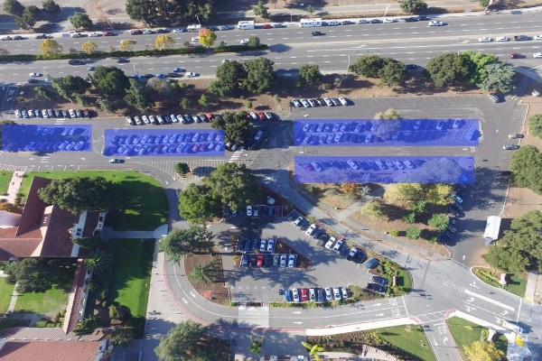 An aerial photo of Palo Alto High School's parking lot. The light blue rectangles represent the proposed locations for solar panels. Photo: Jevan Yu
