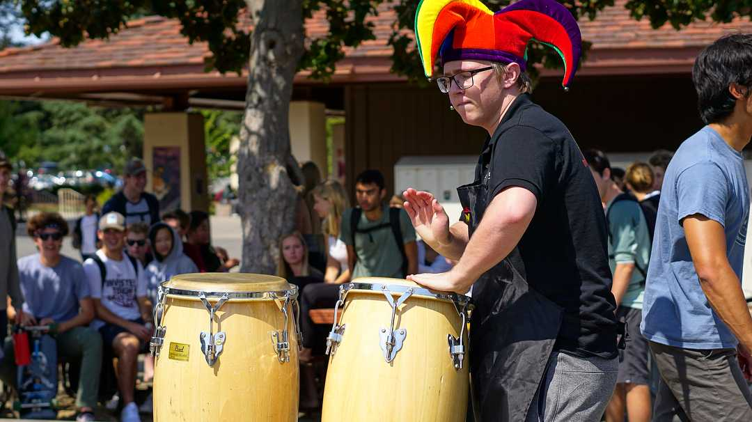 "Senior Ben Avny plays the drums for Oscar's Band during Quadchella and will play again in a much-anticipated performance on Tuesday. ""Oscar's Band is the most energetic, crazy performance,"" senior Jon Semba said."