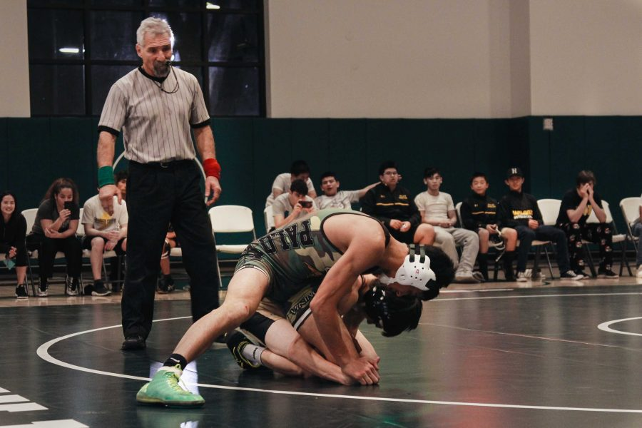 Palo Alto High School senior and co-captain Calvin Grewal pins down his opponent at a dual meet against Fremont High School. Though Grewal won his match, the team did not do as well, finishing 43-31.