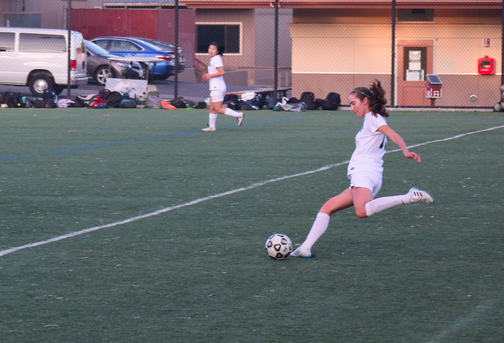 Senior defender Isabella Bonomi prepares for a pass in the game against Santa Clara High School last Friday Jan. 12 at home. The Vikings took advantage of their corner and free kick skills and dominated over Santa Clara. Photo: Samantha McBride