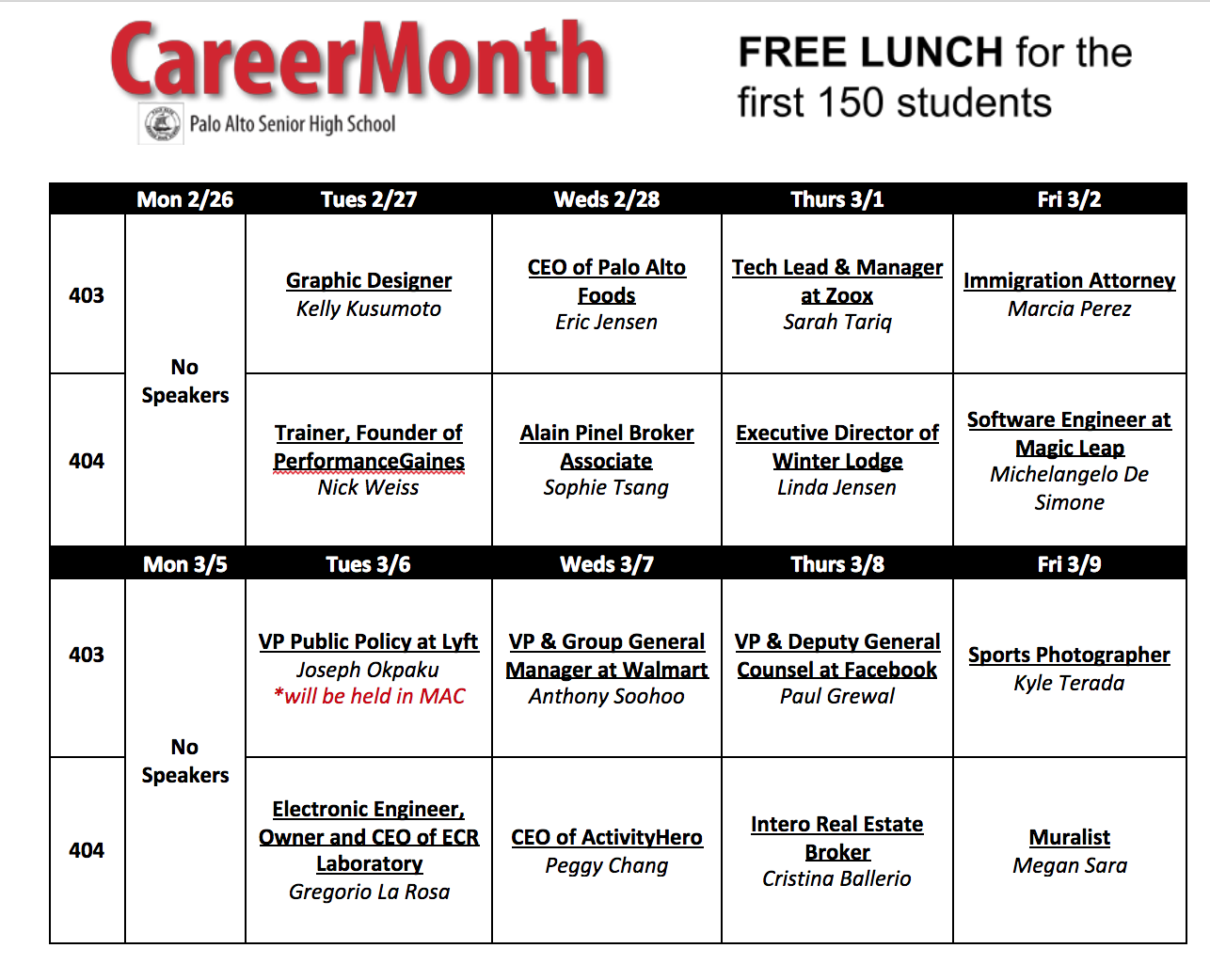 Career Month Schedule