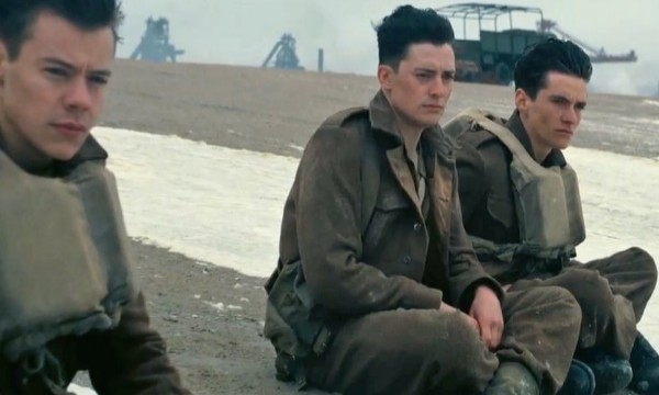"Alex (Harry Styles), left, Gibson (Aneurin Barnard), center, and Tommy (Fionn Whitehead), await rescue at Dunkirk in Christopher Nolan's latest film, ""Dunkirk"". ""Dunkirk"" has been nominated for 8 Academy Awards, including Best Picture and Best Director for Christopher Nolan."