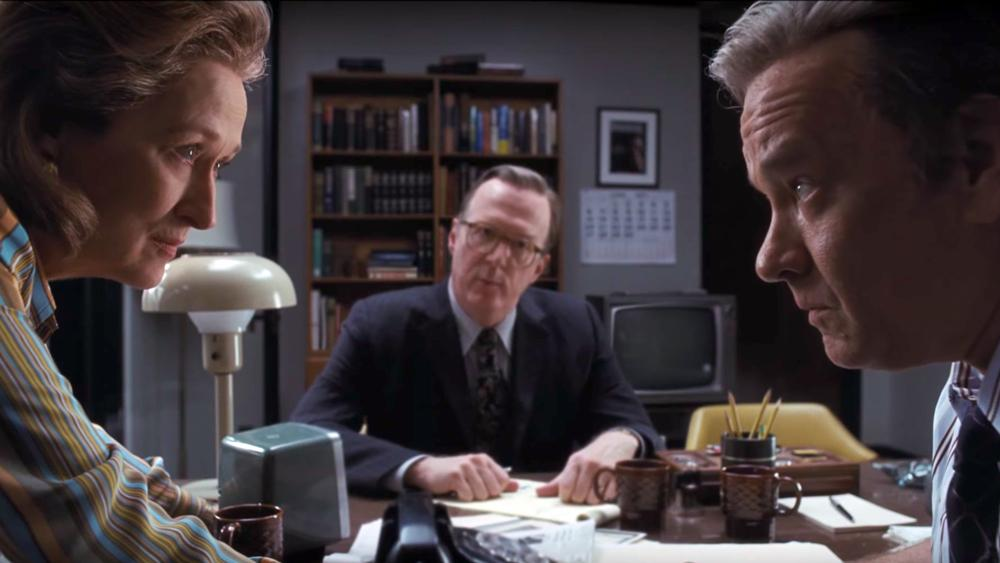 Ben Bradlee (Tom Hanks) confronts Katharine Graham (Meryl Streep) over publishing a story containing inormation from the Pentagon Papers, a leaked top-secret government study detailing the United States government's involvement in the Vietnam War. Photo: DreamWorks