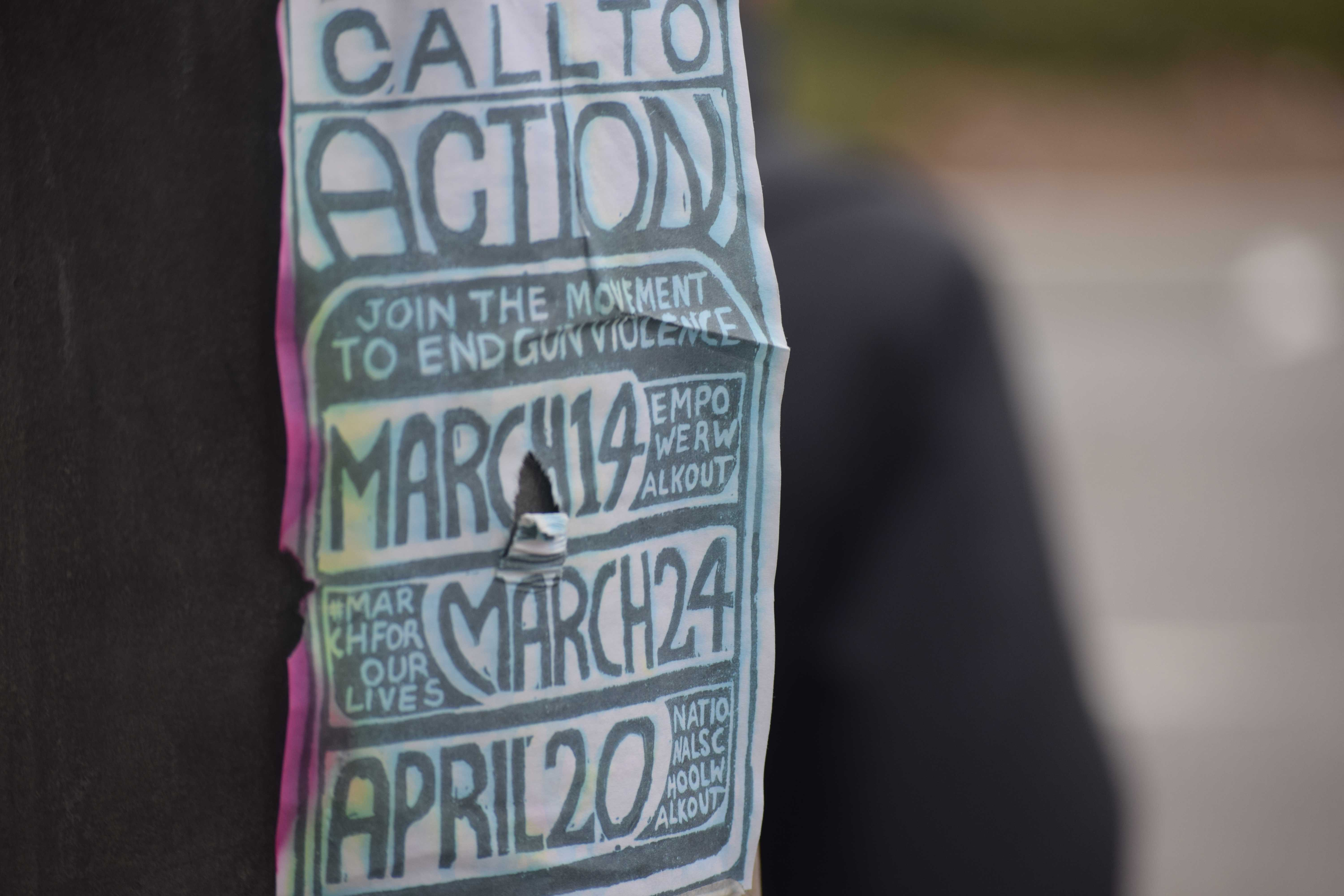 Surrounding Palo Alto High School, fliers advocating for upcoming protests about gun control have been put up by an unknown source. In addition to the upcoming walkout, a march on March 24 and walkout on April 20 are being planned. Photo by: Allie Feitzinger