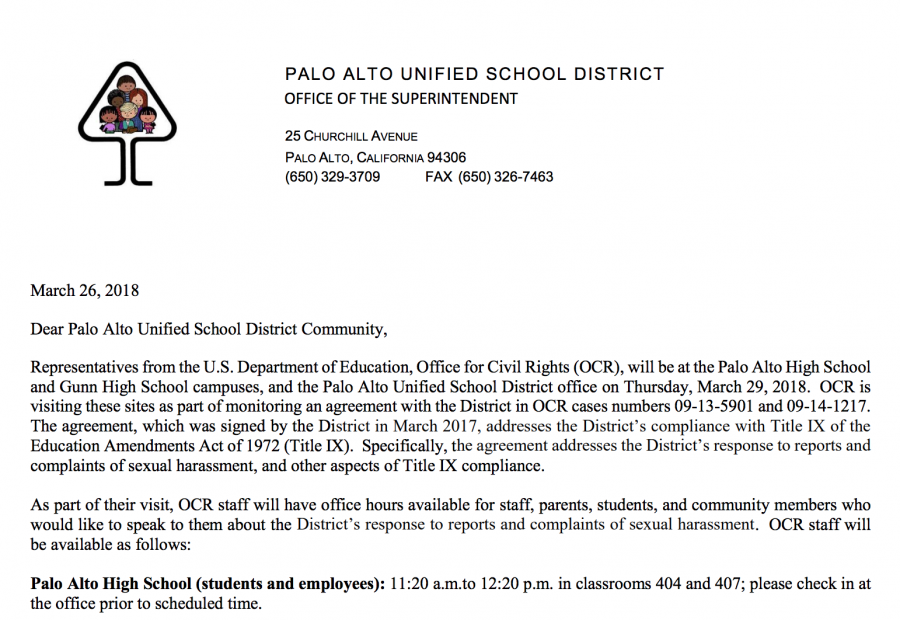Office of Civil Rights to visit district