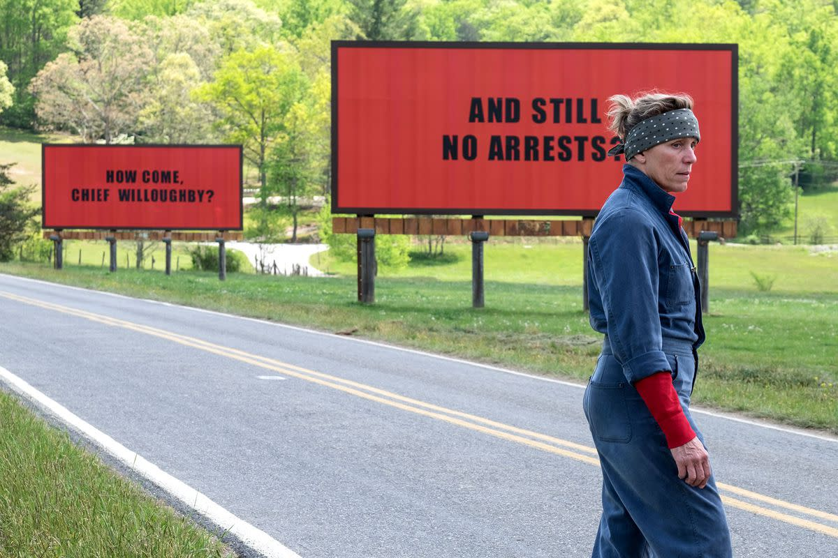 Mildred Hayes (Frances McDormand) paces near her billboards that protest the police's lack of action on her daughter's rape and murder in Martin McDonagh's dark comedy drama 'Three Billboards Outside Ebbing, Missouri.' This film has been nominated for 7 awards, including Best Picture and Best Original Screenplay for McDonagh. Photo: Fox Searchlight