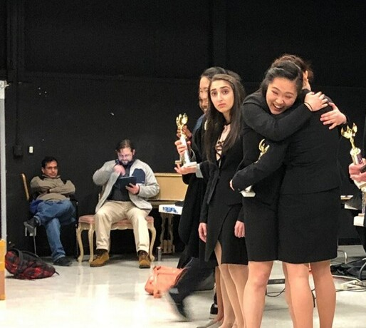 "Senior Stephanie Lee embraces junior Sasha Shahinfar. Lee placed 5th at the speech state qualifier tournament, guaranteeing her entry into the state championship. ""I felt so happy because this is my senior year, and I did break last year at state quals, but I never made states,"" Lee said. Photo: Camila Vasquez"