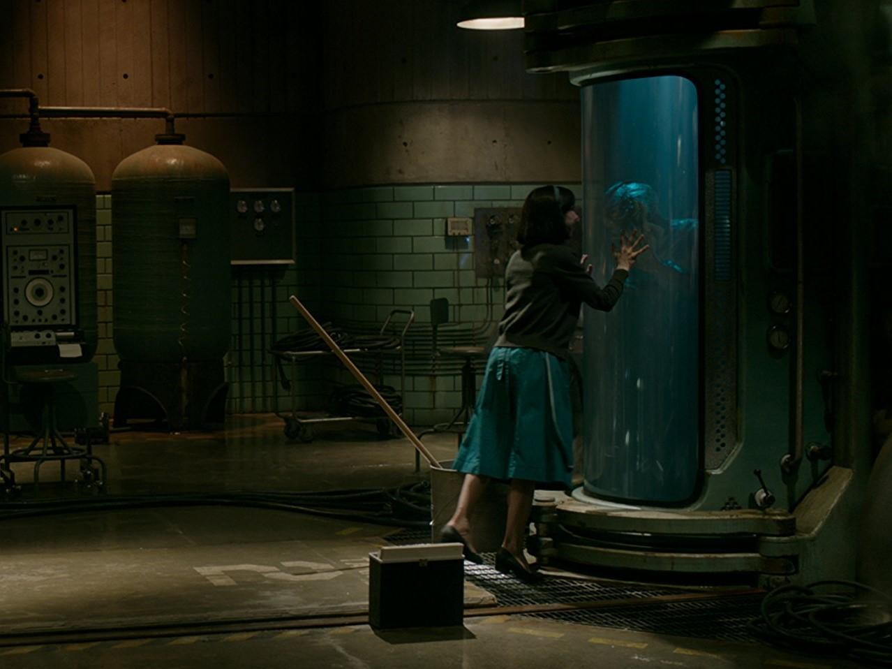 "Elisa (left) communicates with the amphibian man (right). Guillermo del Toro's ""The Shape of Water"" has been nominated for 13 Oscar awards. Photo: IMDb"