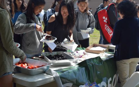 Sophomore Samantha Kao, left, grabs a healthy snack. Parent volunteers served locally grown fruit and granola during Day 1 of Change in Our Schools week,    which focuses on issues that need change at Palo Alto High School.
