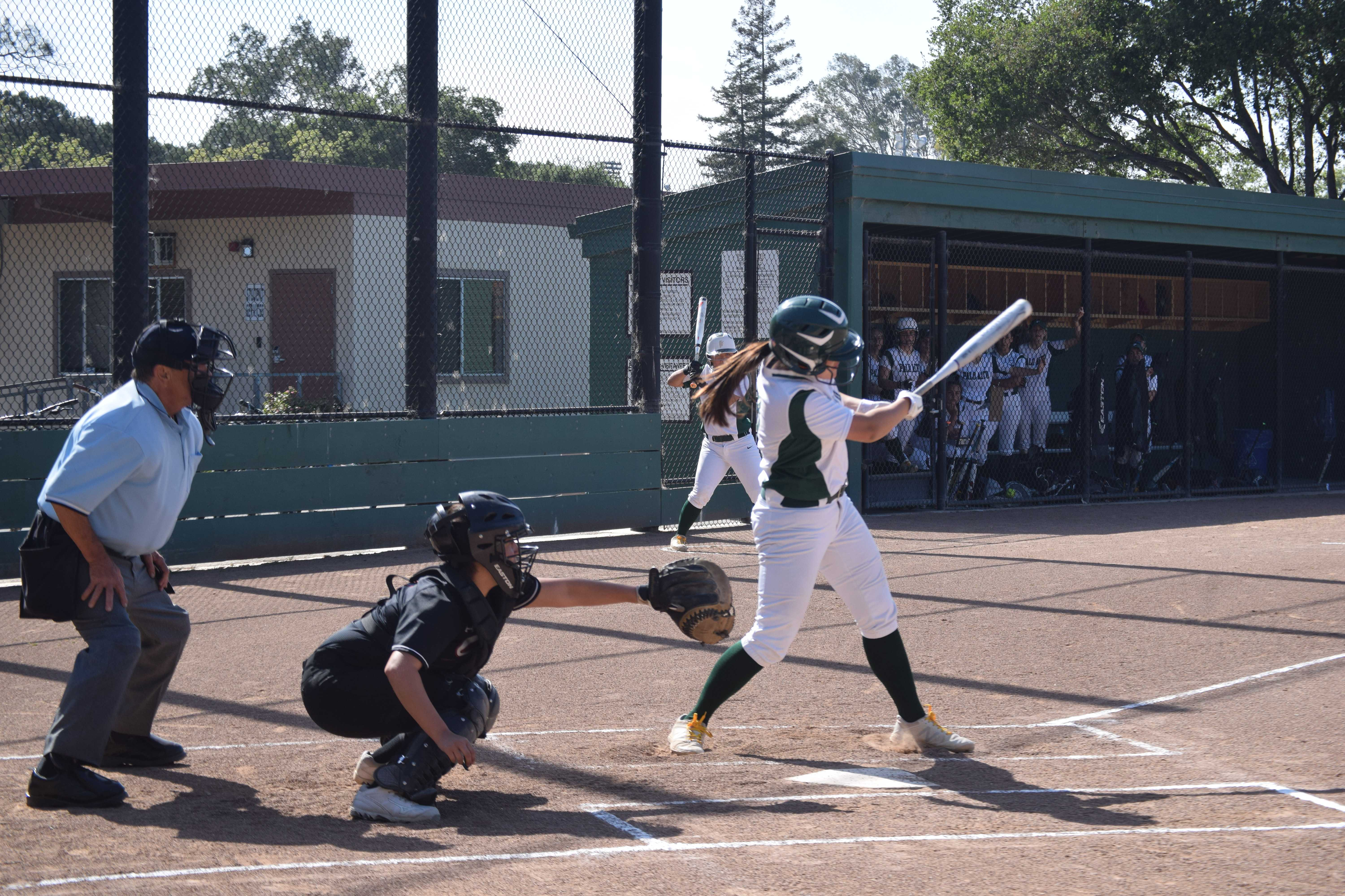 "Junior Sydney Liu prepares to strike the ball in an exciting matchup against rival Gunn High School. The Vikings emerged as champions after losing Monday's game against Fremont High School 4-3. ""We just lost to Fremont yesterday so we are looking to seek revenge against them, keep our energy level high again and really having each others' backs,"" sophomore Zoe Silver said. Photo: Annika Behal."