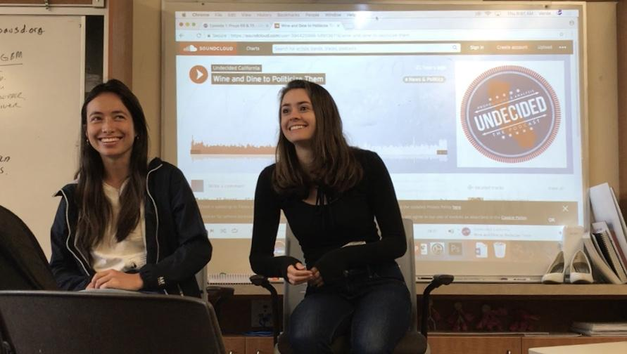 Palo Alto High School alumni Jamie Livingston and Hanako Gallagher, Class of 2013, describe the process of hosting and producing their podcast, Undecided California, which aims to motivate the younger generation to vote in local elections. Photo credit: Dylan Fu