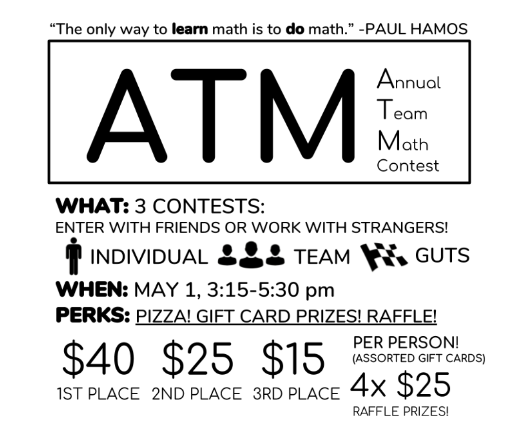 Palo Alto High School's math club recently held its second annual team math contest (ATM), attracting over a hundred students to participate in this team-based math competition.