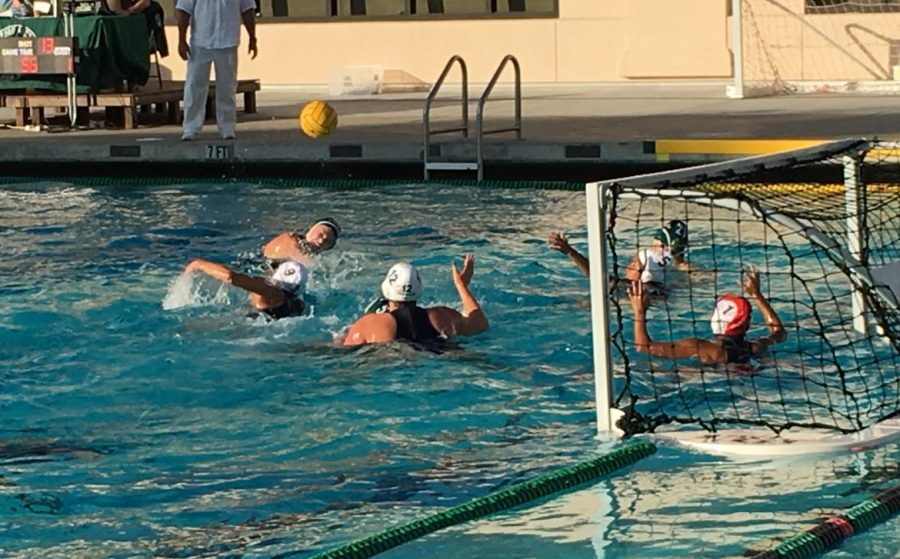 A Palo Alto High School varsity girls' water polo player takes a shot