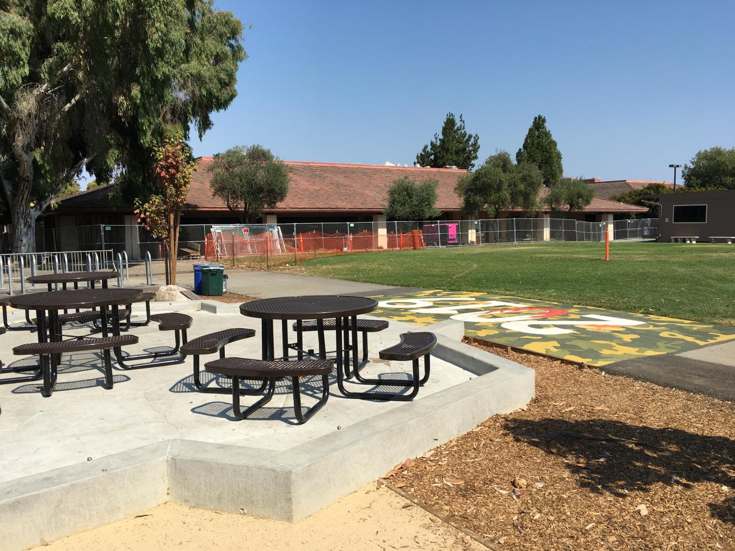The Paly Quad is quiet prior to the start of Quadside Lands. The new Quad-themed festival will build upon previous festivals and promises attendees new activities.