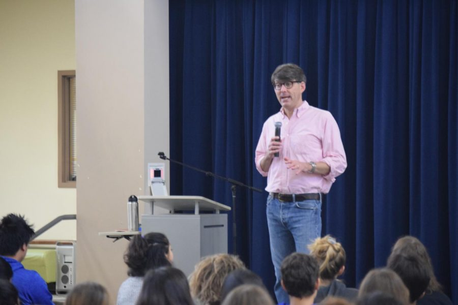 Environmental+lecturer+and+writer+Jeffrey+Ball+addresses+Palo+Alto+High+School+Students+at+the+fourth+day+of+career+month+on+Thursday.+Recalling+his+background+as+a+journalist%2C+Ball+told+students+about+why+it+is+not+always+important+to+have+life+figured+out.+%E2%80%9CI+never+ever+would+have+been+able+to+predict+where+I+ended+up%2C%E2%80%9D+Ball+said.+%E2%80%9CThat%E2%80%99s+actually+a+really+wonderful+thing.%E2%80%9D
