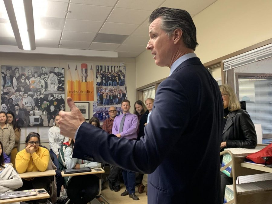 Gov. Newsom talks high-speed rail, path to politics in surprise Paly visit