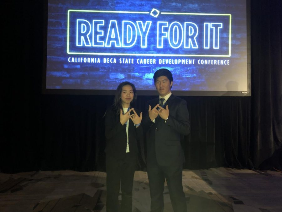 Betty+Tsai+and+Junhyuk+Kwak+from+Palo+Alto+High+School%27s+DECA+Club+pose+for+a+picture+at+the+State+Career+Development+Conference+last+weekend+in+Anaheim.+Members+Elaine+Han+and+Stephanie+Tong+placed+fourth+for+their+Creative+Marketing+Project+and+now+have+the+chance+to+attend+the+International+Career+Development+Conference%2C+the+annual+DECA+convention.+%22%3Cspan+style%3D%22font-weight%3A+400%3B%22%3EWe+are+excited+and+grateful+that+we+placed+fourth+at+the+DECA+state+conference%3C%2Fspan%3E%2C%22+Tong+said.+Photo%3A+Ria+Pai