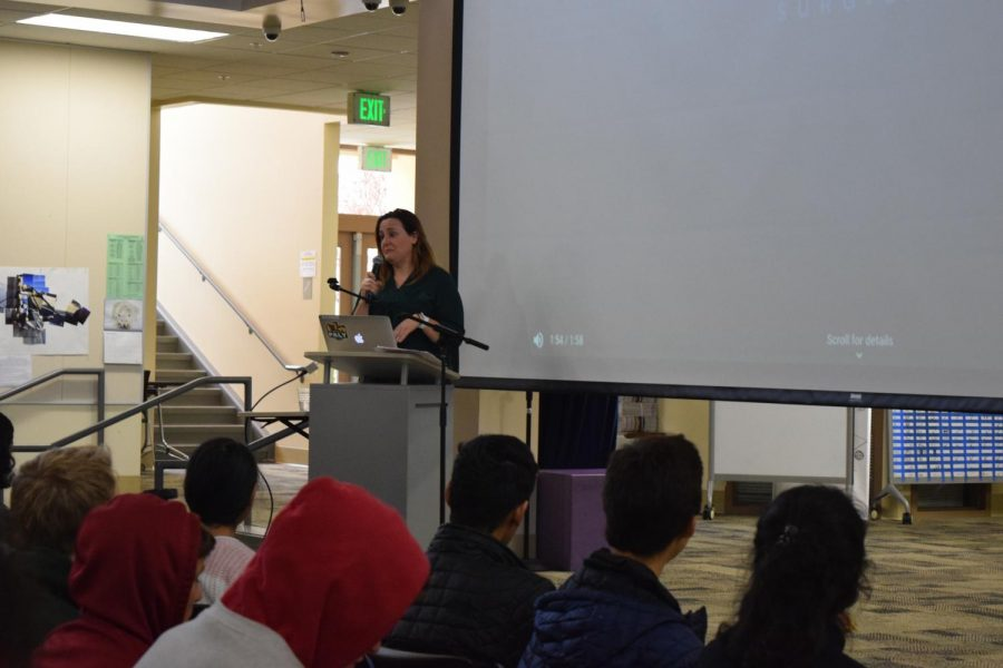 Karen White, an OB/GYN at El Camino Hospital speaks in the MAC on March 1 for the fifth day of the Career Speaker Series.  Photo Credit: Kaahini Jain