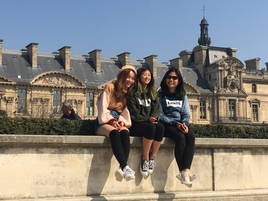 Senior+Jessica+Lee%2C+sophomore+Samantha+Ho%2C+and+freshman+Xiaohan+Li+pose+outside+of+the+Louvre+in+Paris.+The+students+participated+in+an+art+trip+through+France+and+Spain+during+Spring+Break+with+several+other+art+students+from+Palo+Alto+High+School.+%E2%80%9CMy+highlight+might+be+going+to+the+Louvre+because+I%E2%80%99ve+never+gone+before+so+seeing+so+many+large+scale+paintings+and+things+you%E2%80%99ve+only+seen+in+pictures%2C+so+that+was+an+interesting+experience%2C%E2%80%9D+Li+said.
