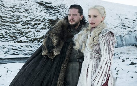 Game of Thrones main characters Jon Snow (Kit Harington) and Daenerys Targaryen (Emilia Clarke) share a moment together in season 8 episode 2, titled