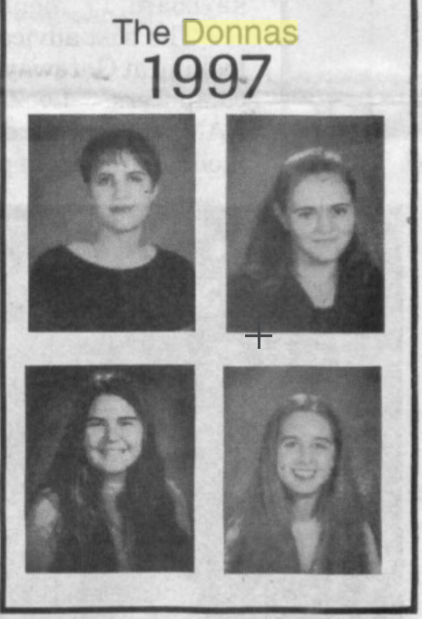 The+Donnas+pose+for+their+senior+pictures+in+Paly%27s+1997+yearbook.+The+band%27s+cast+consisted+of%C2%A0+guitarist+Allison+Robertson+%28top-left%29%2C+vocalist+Brett+Anderson+%28top-right%29%2C+percussionist+Torry+Castellano+%28bottom-right%29%2C+and+bassist+Maya+Ford+%28bottom-left%29.+Photo%3A+Paly+Journalism+Archives