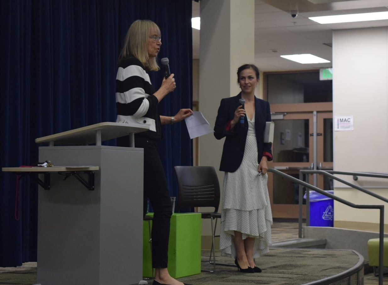 Palo Alto High School journalism advisor Esther Wojcicki welcomes Lisa Brennan-Jobs to the Media Arts Center for a presentation about Brennan-Jobs' book, Small Fry, in October 2018. Brennan-Jobs said in an interview that her high school experience was at first uncomfortable, but grew to be pleasant.