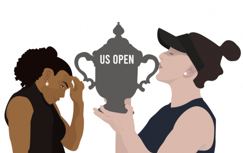Bianca Andreescu kisses the 2019 U.S. Open trophy as Serena Williams looks down. The 19-year-old Canadian tennis player shows that it's time for younger athletes — and indeed all sorts of young people — to rise and for the older ones to go. Illustration: Amy Yu