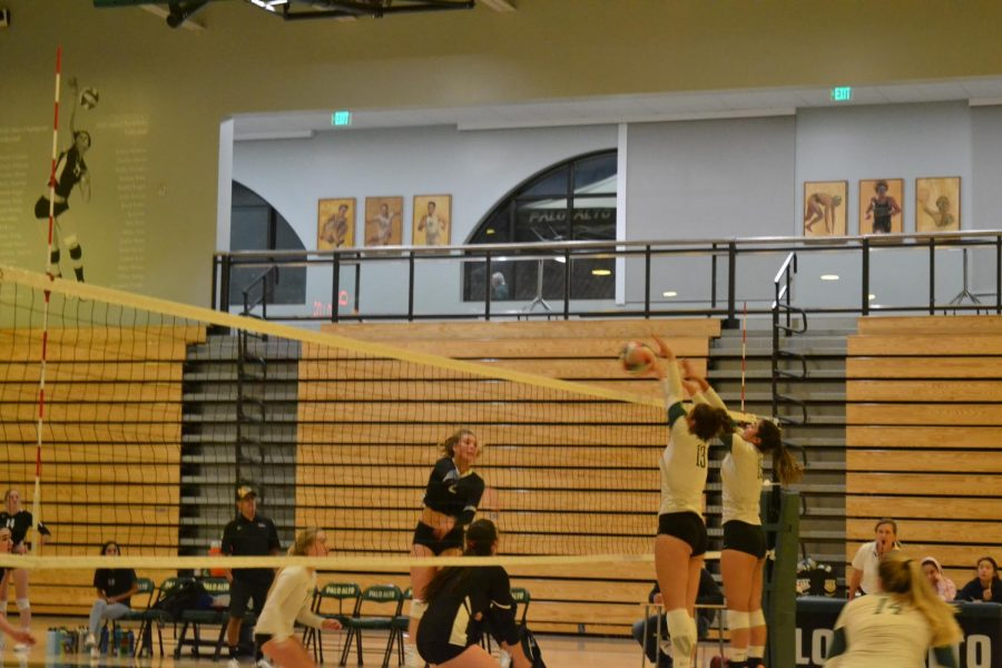 "Senior middle blocker Grace Thayer and junior middle blocker Trisha Razdan go in for a block against Los Gatos.  ""I just really wanted to come in and definitely have a lot of fun and for everyone to just play as hard as we can,"