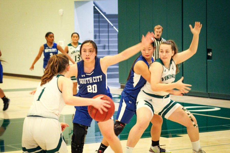 Freshman+Kaella+Peters+dribbles+the+ball+as+her+teammates+look+on+during+the+Palo+Alto+High+School+girls%E2%80%99+varsity+basketball+team%E2%80%99s+first+official+game+against+South+San+Francisco+High+School+Thursday+at+Paly.+The+team%2C+consisting+of+five+freshmen%2C+defeated+South+Sanfrancisco+55%E2%80%9333.+%E2%80%9CWe%E2%80%99re+a+young+team+and+so+we%27re+going+to+play+hard%2C+we%27re+going+to+make+some+mistakes%2C+but+if+we+keep+playing+hard%2C+eventually%2C+good+things+are+going+to+happen%2C%E2%80%9D+Head+Coach+Scott+Peters+said.+%E2%80%9CWe+just+played+with+great+energy+and+played+hard.%E2%80%9D+Photo%3A+Margaret+Li