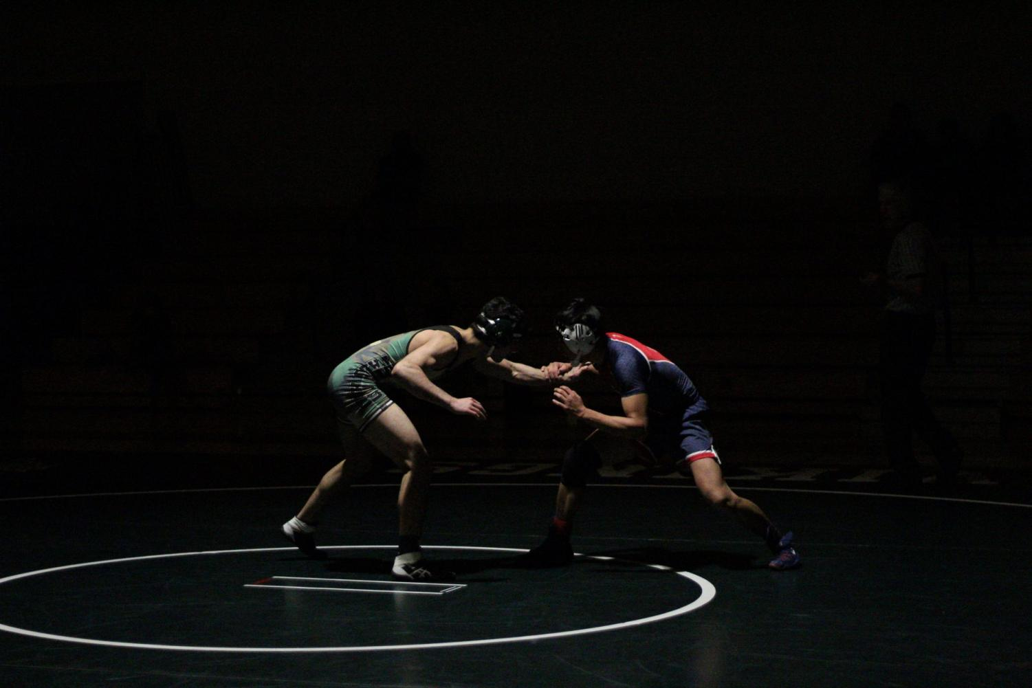 Senior Dara Heydarpour faces off against his opponent Isaac Yoon in Paly's wrestling match against Lynbrook Tuesday. Heydarpour dominated the match, winning with a pin, earning six points for Paly. Photo: Margaret Li