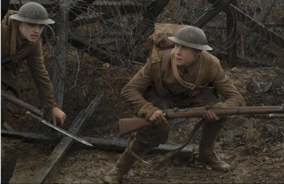 British soldiers Blake ( ) and Schofield ( ) sneak across No Man's Land