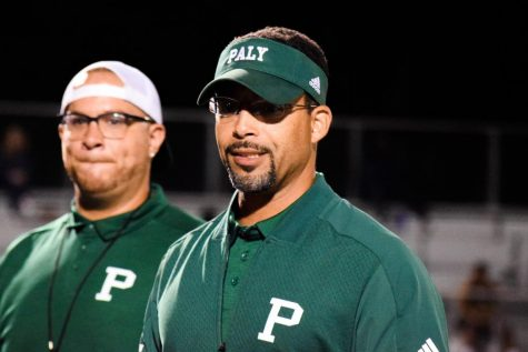 "Athletic Director and Varsity Football Coach Nelson Gifford congratulates the Palo Alto High School varsity football team for a victory during the 2019 season at Viking Stadium. Over the summer, some Palo Alto Unified School District campuses reopened for socially distanced summer conditioning and several athletic teams at Paly held practices for five weeks before the Santa Clara County prohibited athletics activities. As athletics and the county start to reopen again, Gifford said he believes that contact sports will be able to play if in-person instruction begins. ""If we can teach in a classroom in an enclosed environment, we should be able to do these contact sports,"" Gifford said. ""We believe they kind of go hand in hand."" Photo: Amy Yu"