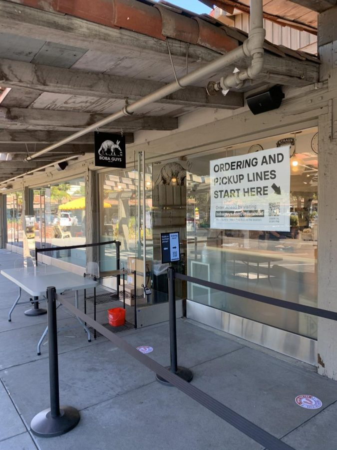 "Boba Guys in Palo Alto's Town and Country over a year ago. Due to COVID-19, Boba Guys is taking large counter measures to prevent spreading, according to co-founder Andrew Chau. ""We shut down our stores early during COVID-19,"