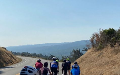 The Paly Road Cycling Club bikes on Cañada Road during its first club meeting. Club members practiced social distancing to mitigate the spread of COVID-19.
