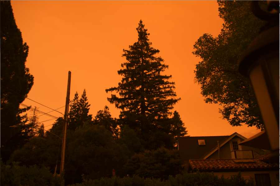 "Orange apocalypse for the fall? Following dozens of major fires across California, the atmosphere filled with smoke and left red-orange light to filter through and tint in the sky for multiple days in mid-September. The abnormal weather was not only a sign of the danger of nearby fires, but also a wake-up call to the severity of climate change. Palo Alto High School science teacher Nicole Loomis emphasized the need to shift towards renewables. ""Carbon concentration in the atmosphere will continue to increase at a rate that was faster than it would otherwise,"" Loomis said, adding that the nation should ""reduce reliance on coal."" Photo: Ethan Chen."