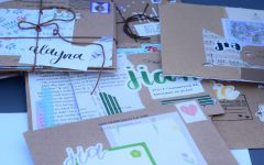 Paly Penpals cluster of their favorite lettering projects, all produced by last year's club participants using a variety of scrapbooking materials.
