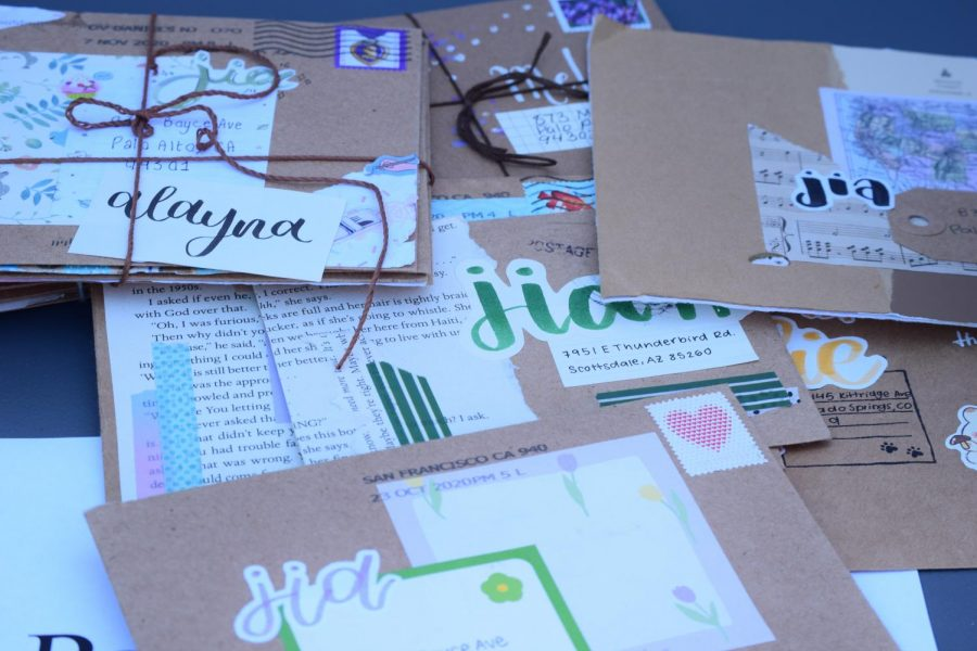 Paly Penpals cluster of their favorite lettering projects, all produced by last years club participants using a variety of scrapbooking materials.